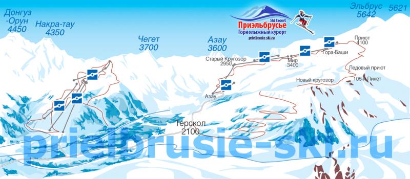 Общая схема трасс и подъемников курорта Приэльбрусья